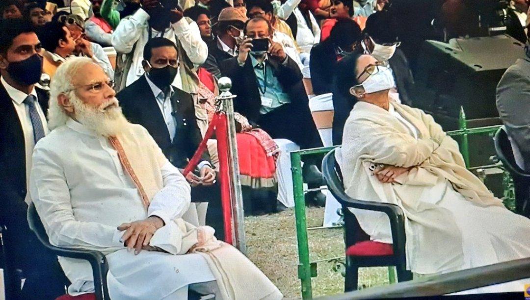 पीएम मोदी के सामने जय श्री राम के नारे से गुस्साईं ममता बनर्जी, भाषण देने से किया इनकार