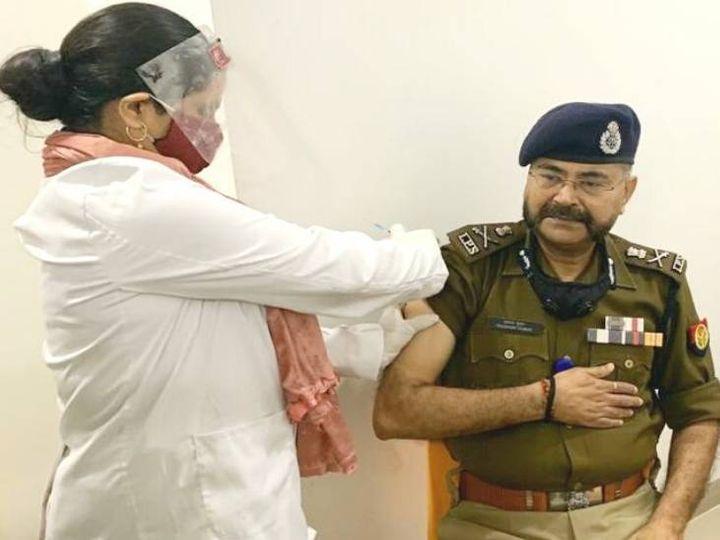 लखनऊ के 28 अस्पतालों में चल रहा वैक्सीनेशन, ADG प्रशांत कुमार ने लगवाई कोरोना वैक्सीन
