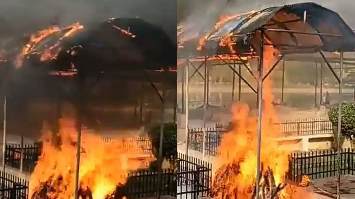वीडियो:लखनऊ के श्मशान घाट में नहीं मिली जगह, तो प्लास्टिक शेड के नीचे ही जला दी चिता