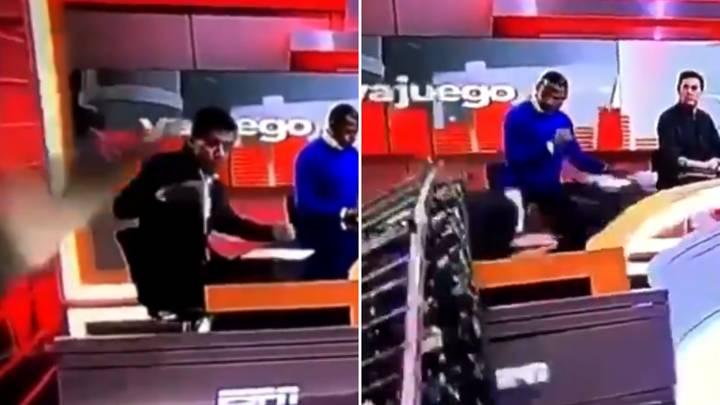 ESPN चैनल पर चर्चा के दौरान पत्रकार पर गिरा स्टूडियो सेट का टुकड़ा, वीडियो हुआ वायरल