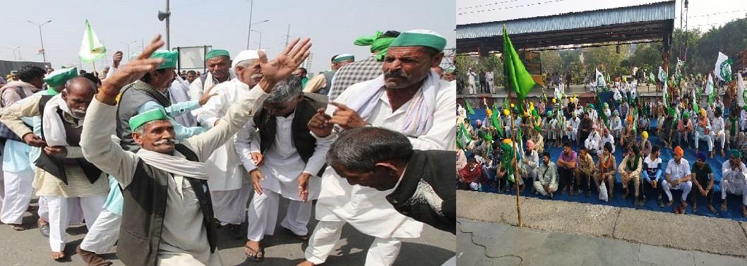 भारत बंद:किसानों ने जाम कीं सड़कें, रोकीं ट्रेनें, गाजीपुर बॉर्डर पर होली के गानों पर किया डांस