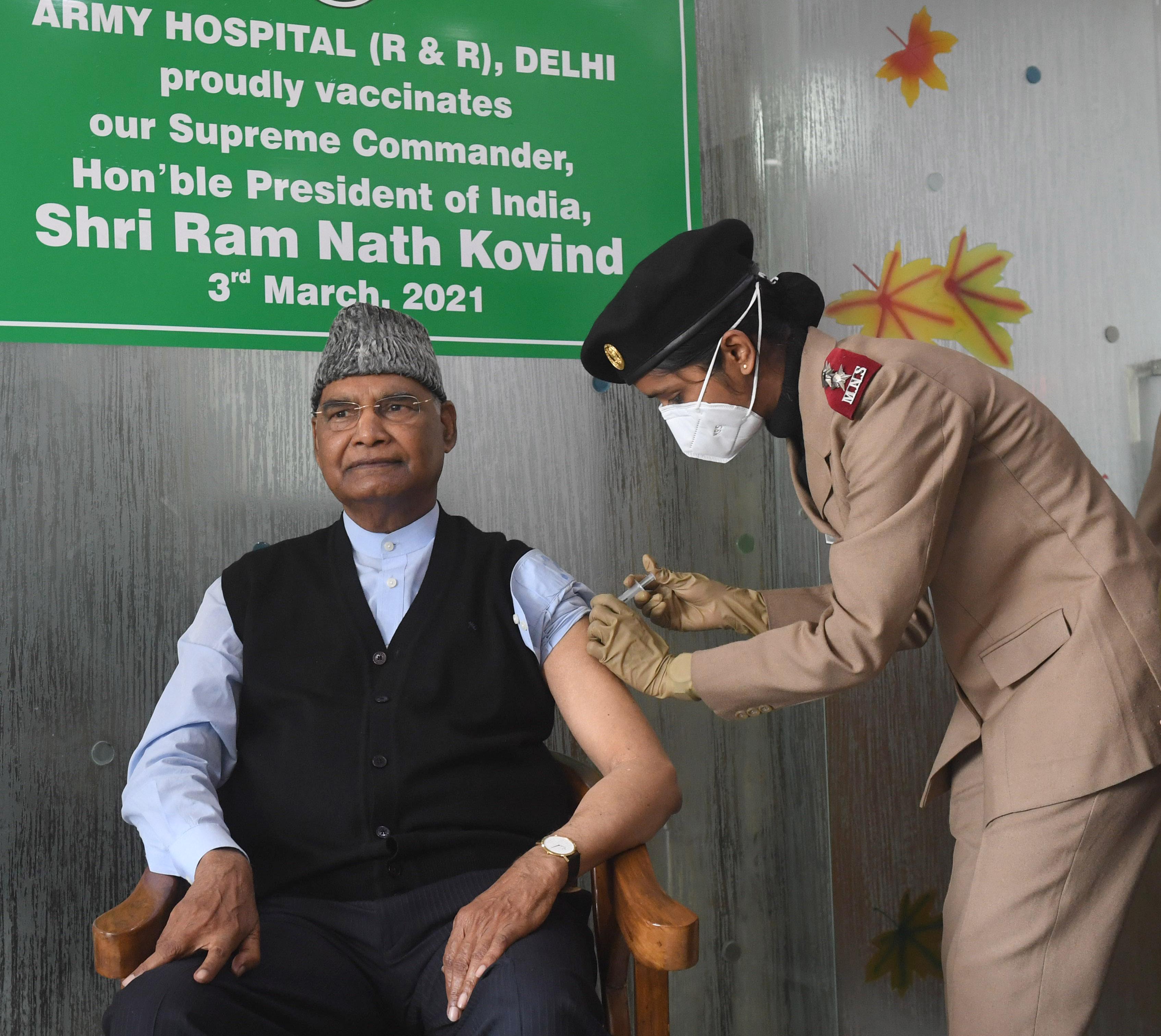 राष्ट्रपति रामनाथ कोविंद ने लिया कोरोना वैक्सीन का पहला डोज़, RR अस्पताल में लगवाया टीका
