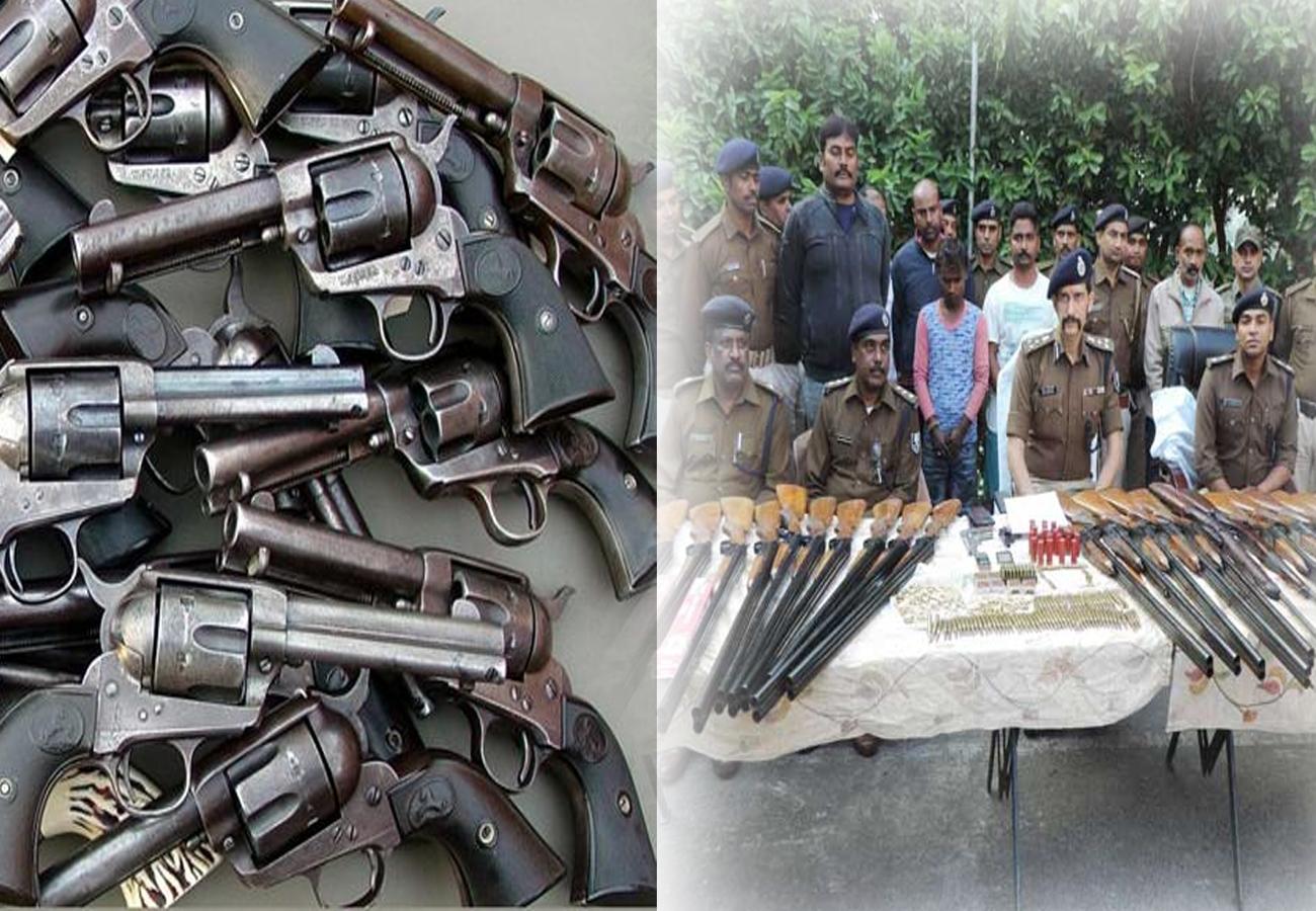 मुंगेर में मिला असलहों का जखीरा,रिवाल्वर-रायफल समेत 29 डबल बैरल बंदूकें पकड़ी गईं